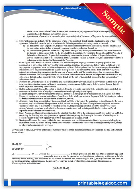free printable contract for deed forms template