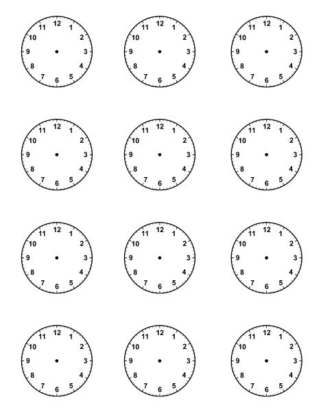 printable a4 clock face blank clock faces for picture schedule teaching