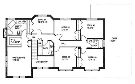 6 room house floor plan 2886 square feet 6 bedrooms 4 batrooms 2 parking space