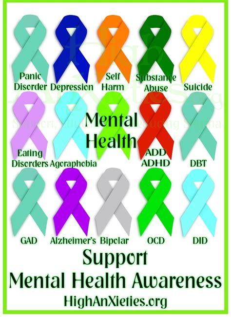 anxiety awareness color mental health awareness ribbons