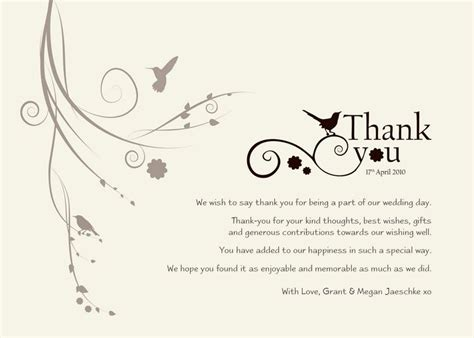 engagement gift thank you card template best 25 wedding thank you wording ideas on