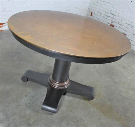 copper top dining room tables copper top dining table with steel pedestal base at 1stdibs