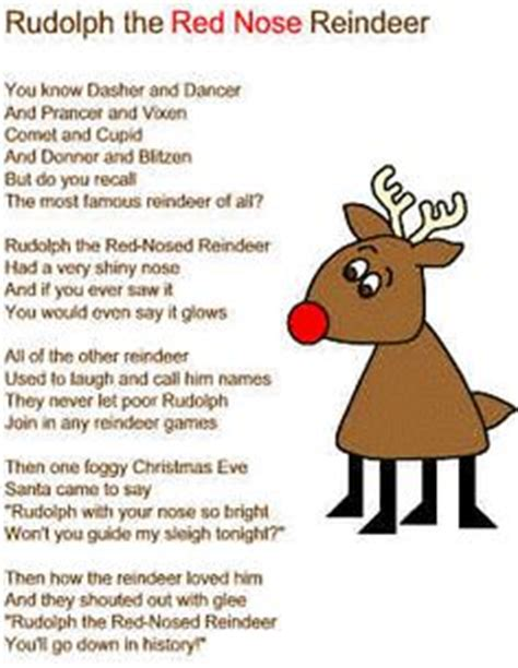 printable lyrics to rudolph the red nosed reindeer reindeer lyrics and christmas on pinterest