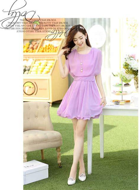 Dress Wanita Warna Ungu dress bahan sifon cantik warna ungu 230k