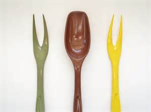 foley forks and spoon utensils brown yellow by