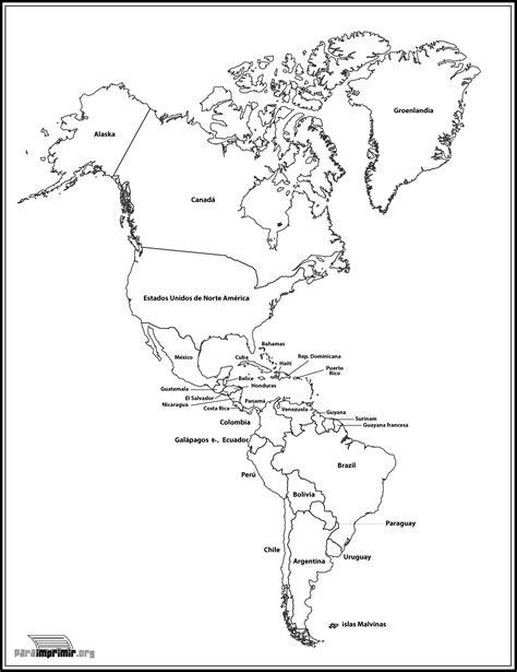 da clic para ver en grande e imprimir mapa de el continente americano para imprimir