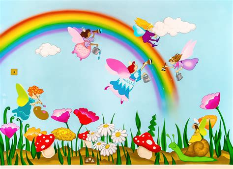 Childrens Wall Mural bright and colourful fairies mural sacredart murals
