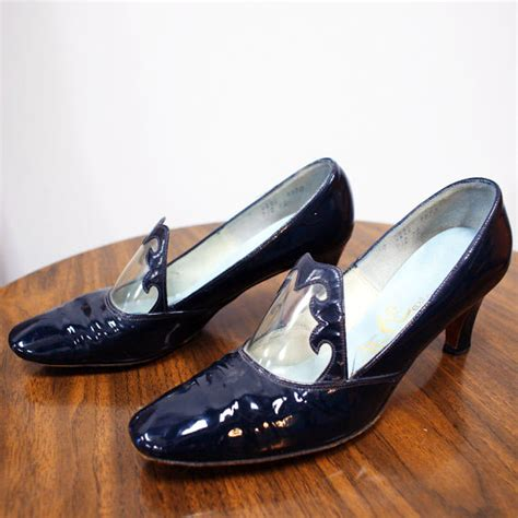 1960s navy blue patent leather shoes sz 7 5 8 the modern
