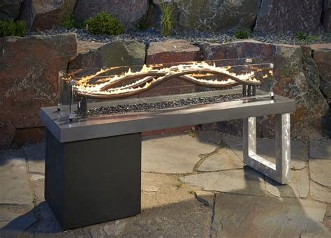 gas firepit tables the wave pit table