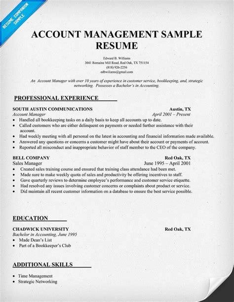 account management resume sle ideas para tu curr 237 culum pintere