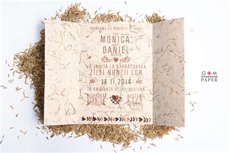 invitatii de nunta rustic vintage din hartie manuala gm