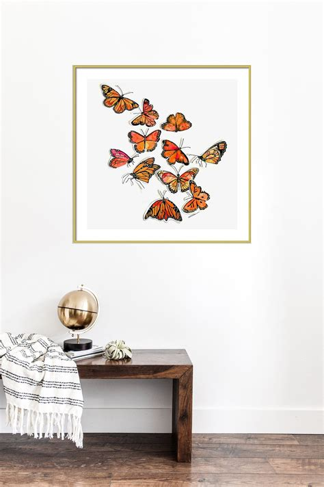monarch butterflies art print  watercolor painting wall