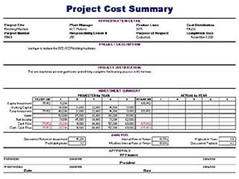 project cost report template project cost summary template blue layouts