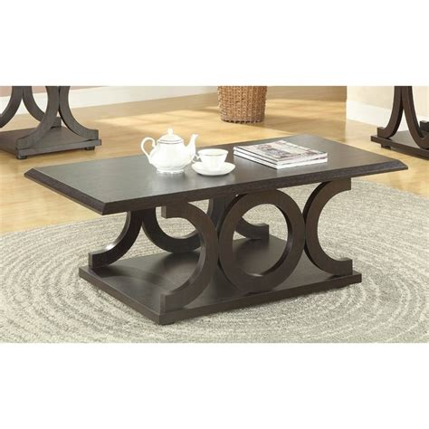 coaster coffee table in cappuccino 703148