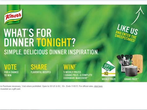 Sweepstakes Ending Tonight - knorr what s for dinner tonight sweepstakes