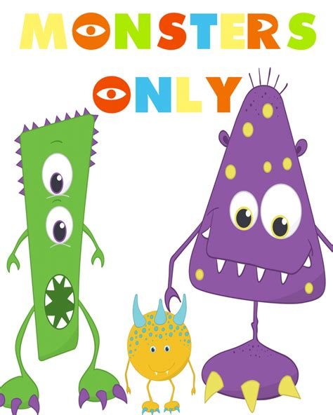 free printable monster birthday decorations monsters only printable party pack our thrifty ideas