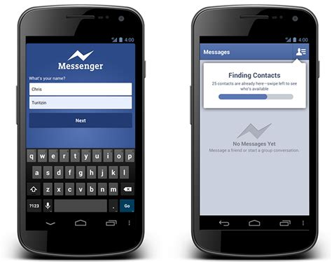 messenger for android launches messenger for android app for non users allows sign ups with just a