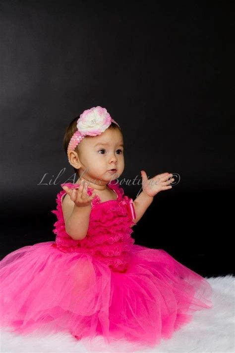 Dres Murah Fuschia Tutu Set With Hair Pin pink tutu skirt ruffle lace romper top dress set with peony sequin or crochet headband