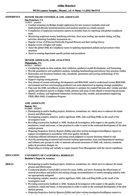 aml associate resume sles velvet