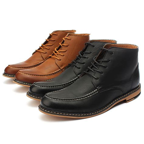 casual dress boots mens mens casual pu leather lace up boots high top dress shoes