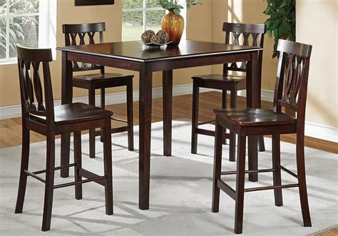 modern 5 pieces counter height square wooden dining room