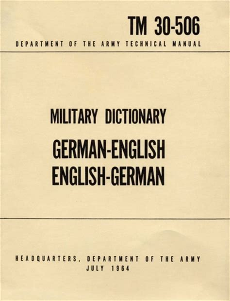 technical manual and dictionary military dictionary german english english german