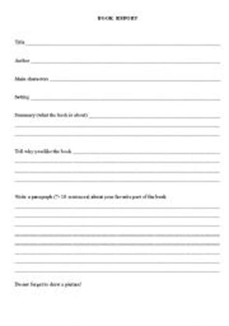 elementary book report form 7 best images of printable elementary book report forms