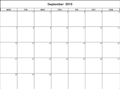 Blank Calendar For September 2015 September 2015 Printable Blank Calendar