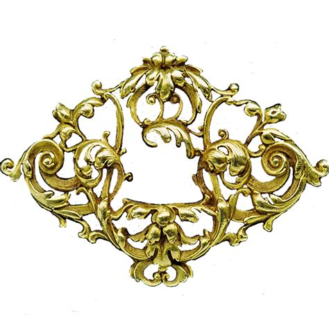 gold filigree nouveau gold filigree badge jewelry element by