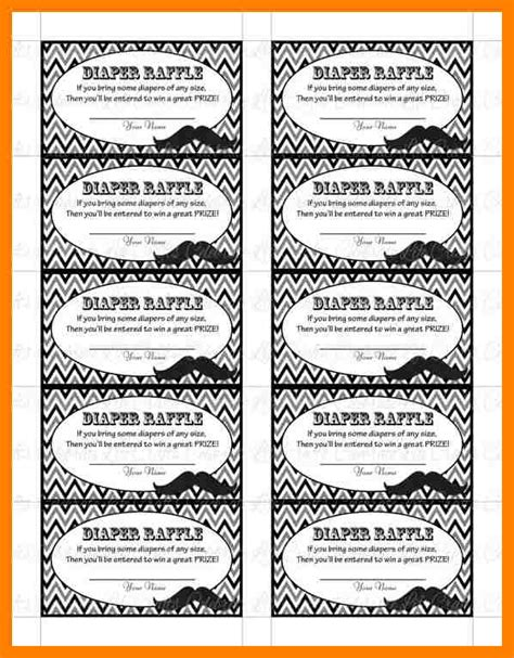 free printable diaper raffle tickets mustache 4 printable diaper raffle tickets packaging clerks