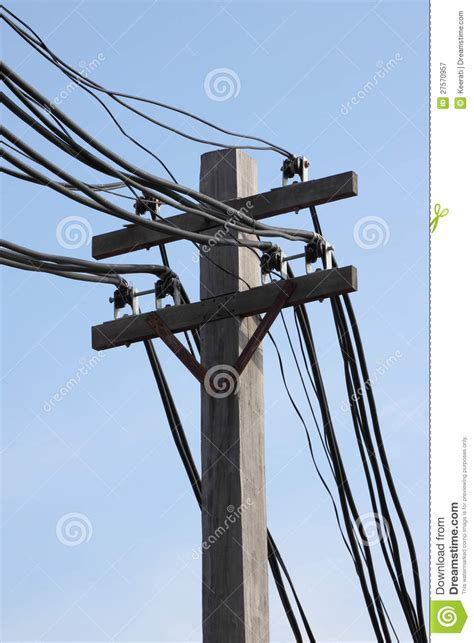 electric pole wires wire on electric pole stock image image of cable