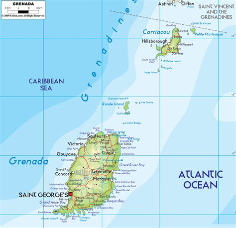where is grenada on a map large detailed road and physical map of grenada grenada