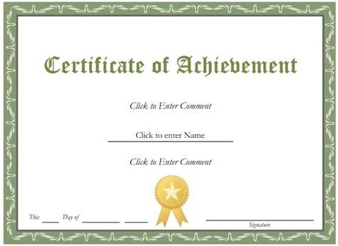 Epic Design Of Certificate Of Achievement Template With Green Color Accent And Gold Medal Brooch Editable Certificate Of Achievement Template