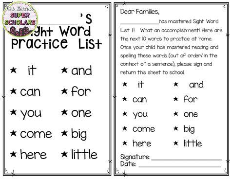 Parent Letter Explaining Sight Words Mrs Garcia S Scholars Prepare Sight Word Lists And Letters