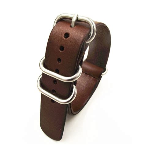 Nato Zulu 18mm 1 1pcs high quality 18mm 20mm 22mm nato genuine leather coffee color band nato
