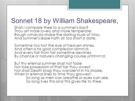 William Shakespeare Sonnet 18 Imagery