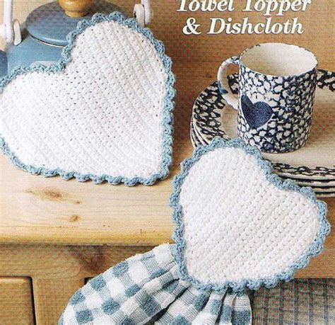 crochet pattern kitchen towel topper heart towel topper and dishcloth kitchen crochet pattern