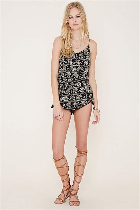 forever 21 elephant print playsuits in black lyst forever 21 elephant print playsuits in black lyst