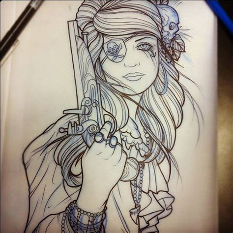 pirate girl tattoo awesome pirate sketch by dave olteanu