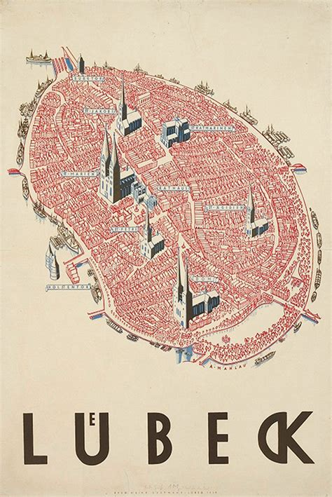 lubeck city map mapcarte 230 365 l 252 beck by alfred mahlau 1934