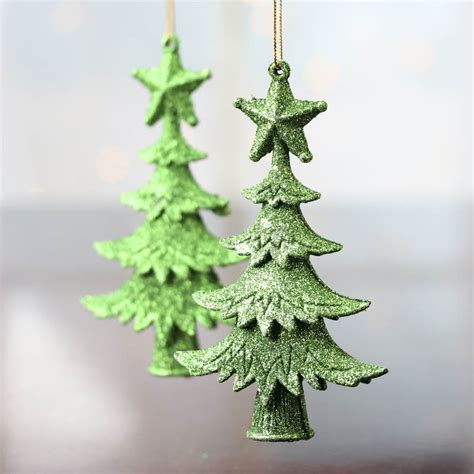 green tree decorations green glittered tree ornaments