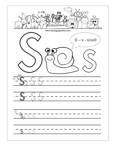 S Worksheet by Free Handwriting Worksheets For The Alphabet