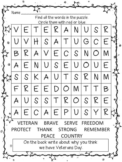 printable word search for veterans day first grade wow veterans day unit thank you veterans