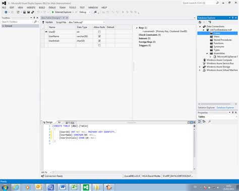 Create New Table Sql by Cannot Create New Sql Data Tables In Visual Studio Express