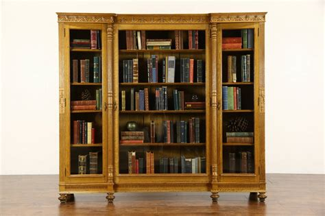 Triple 1890 S Antique Carved Oak Library Bookcase Wavy Library Bookcase With Glass Doors