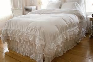 Grey Striped Duvet Cover Ruffle Feminine Bedding Shabby Style Ruffled Duvet Cover