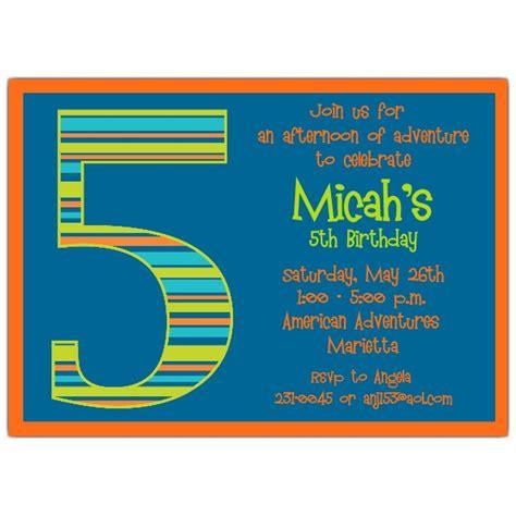 birthday invitation templates for boys birthday boy stripes 5th birthday invitations paperstyle