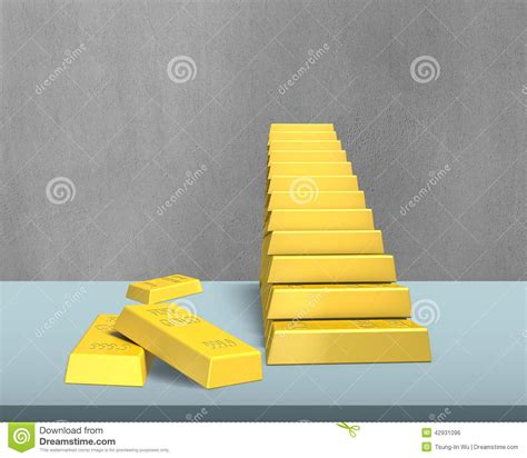 bullion stacking in stairs shape on desk stock