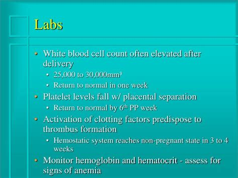 High White Blood Cell Count In Stool by Ppt Postpartum Complications Powerpoint Presentation