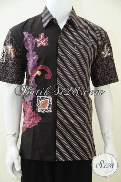 Jaket Pria Kombinasi Jaket Gaul baju batik modern kombinasi dua motif hem batik lengan